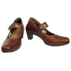 NAOT Brown Leather Heels with Bronze Strap Accents
